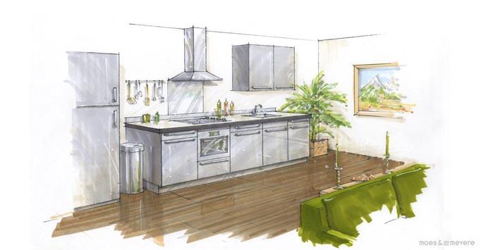 Keuken plattegrond voorbeelden for Cursus 3d tekenen interieur