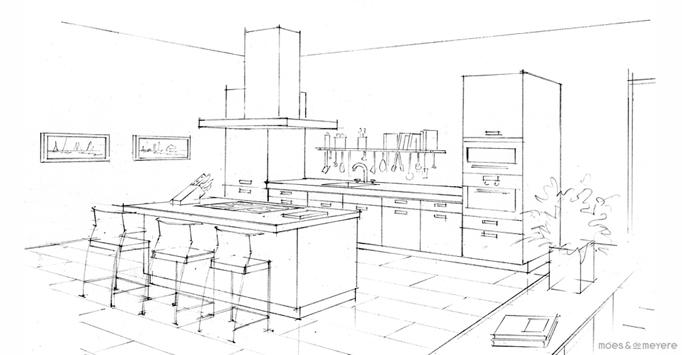 Interieur tekening perspectief en plattegrond voorbeelden for Cursus 3d tekenen interieur